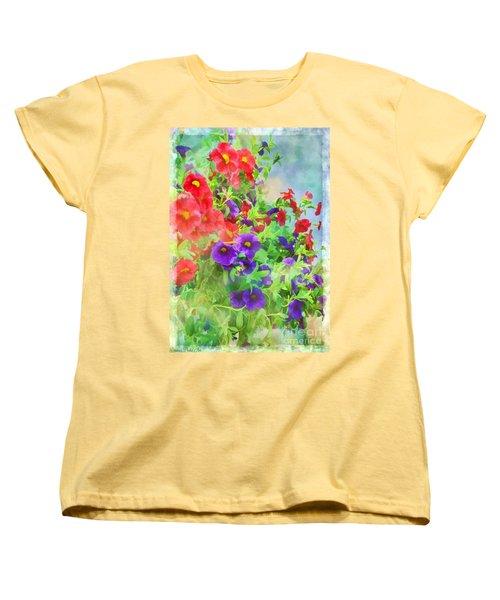 Red And Purple Calibrachoa - Digital Paint I Women's T-Shirt (Standard Cut) by Debbie Portwood