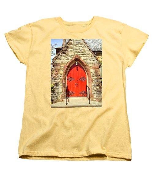 Women's T-Shirt (Standard Cut) featuring the photograph Red Church Door by Becky Lupe