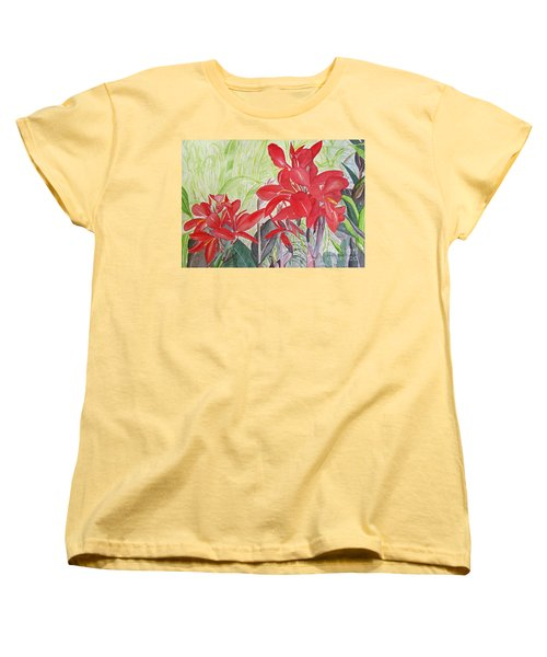 Women's T-Shirt (Standard Cut) featuring the painting Red Flowers by Carol Flagg