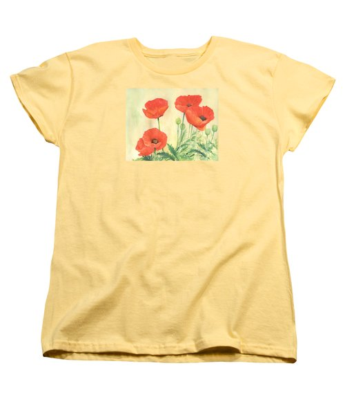 Red Poppies 3 Colorful Watercolor Poppy Floral Original Art Flowers Garden Artist K. Joann Russell Women's T-Shirt (Standard Cut) by Elizabeth Sawyer