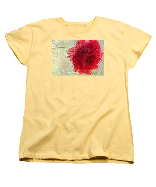 Red Rose In The Rain Women's T-Shirt (Standard Cut)