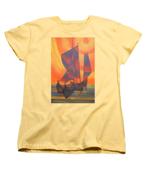 Women's T-Shirt (Standard Cut) featuring the painting Red Sails In The Sunset by Tracey Harrington-Simpson