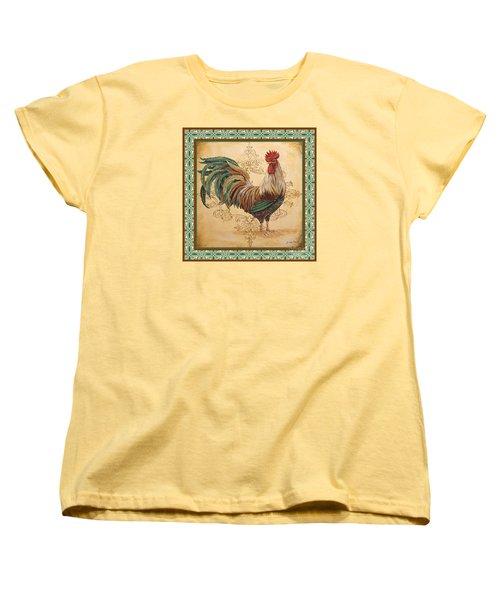 Renaissance Rooster-d-green Women's T-Shirt (Standard Cut) by Jean Plout