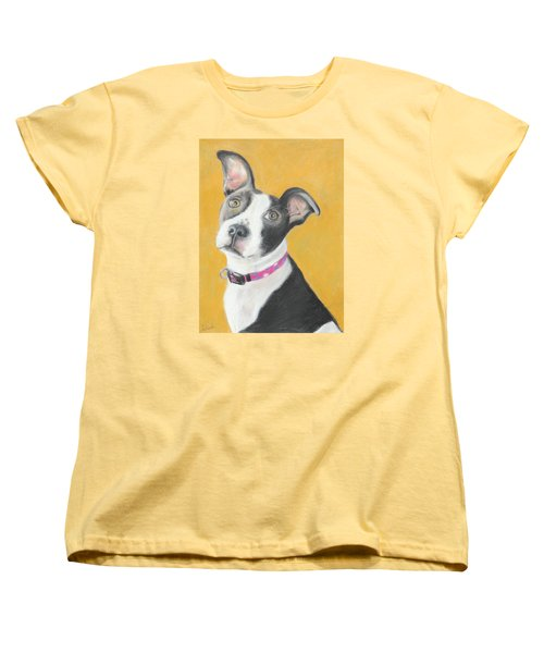 Women's T-Shirt (Standard Cut) featuring the painting Rescued Pit Bull by Jeanne Fischer
