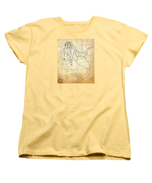 Retro Mermaid Women's T-Shirt (Standard Cut) by Rosalie Scanlon
