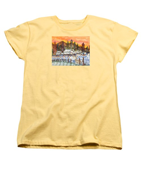 Women's T-Shirt (Standard Cut) featuring the painting Road To The Oregon Coast by Connie Valasco