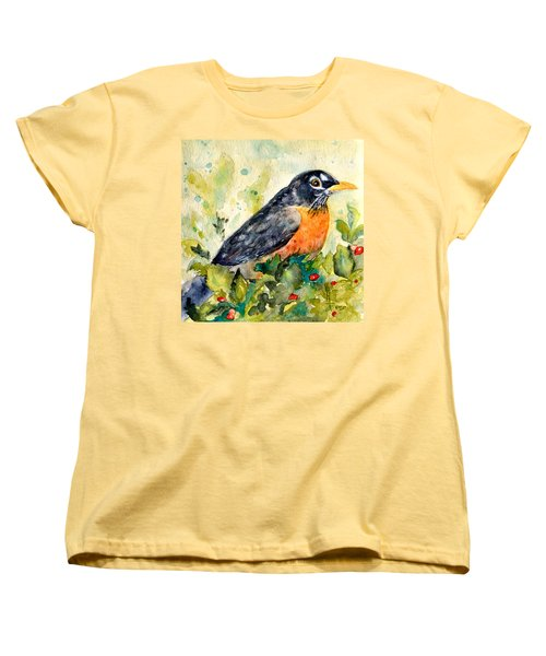 Women's T-Shirt (Standard Cut) featuring the painting Robin In The Holly by Beverley Harper Tinsley