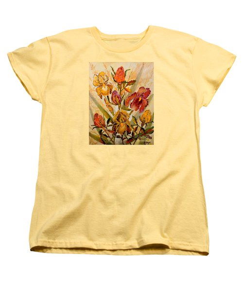 Roses And Irises Women's T-Shirt (Standard Cut) by Lou Ann Bagnall