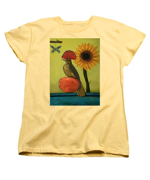 Royal Flycatcher  Women's T-Shirt (Standard Cut) by Leah Saulnier The Painting Maniac