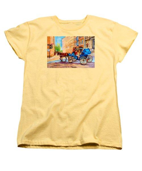 Women's T-Shirt (Standard Cut) featuring the painting Rue Notre Dame Caleche Ride by Carole Spandau