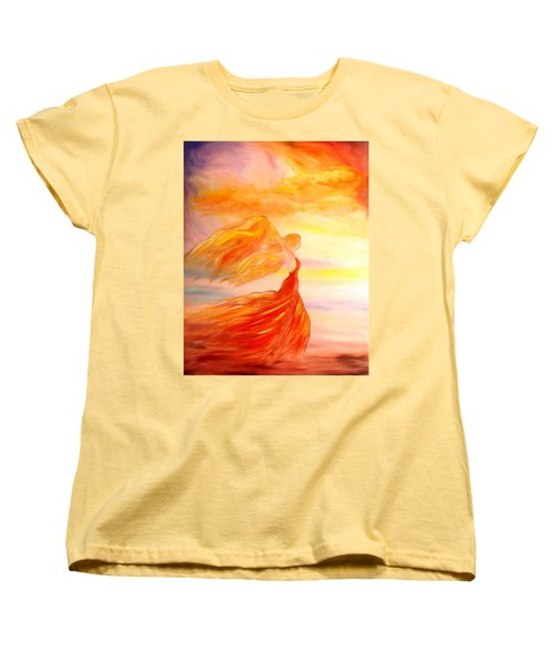 Women's T-Shirt (Standard Cut) featuring the painting Running Along The Beach by Lilia D