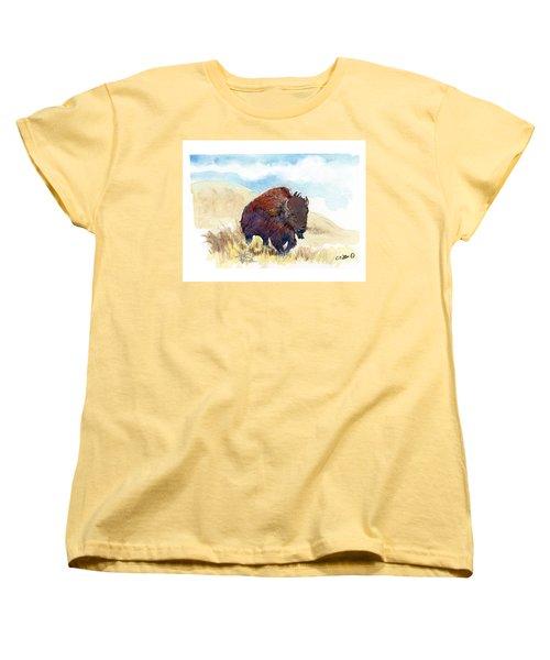 Women's T-Shirt (Standard Cut) featuring the painting Running Buffalo by C Sitton