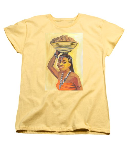 Women's T-Shirt (Standard Cut) featuring the painting Rural Woman From Cameroon by Emmanuel Baliyanga