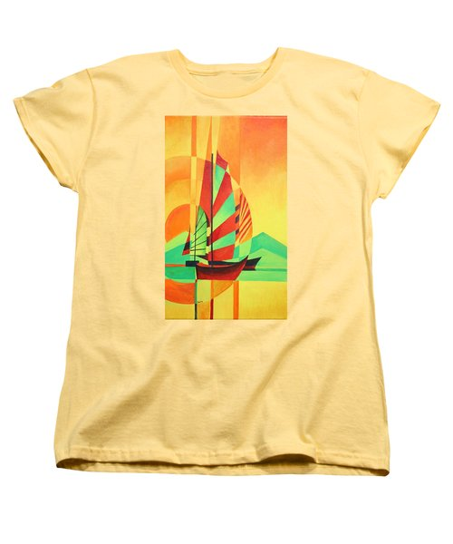 Women's T-Shirt (Standard Cut) featuring the painting Sail To Shore by Tracey Harrington-Simpson
