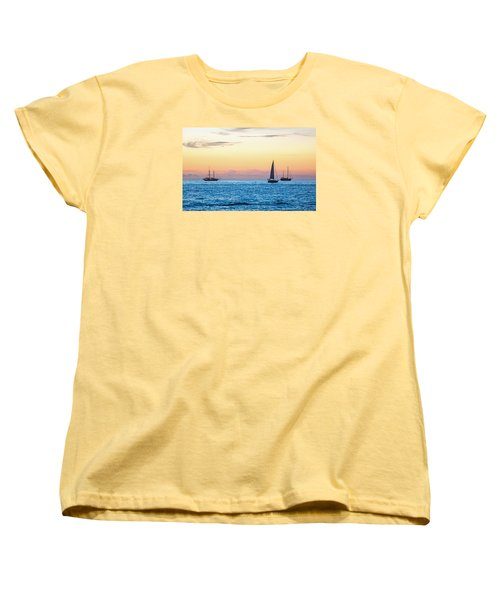 Sailboats At Sunset Off Key West Florida Women's T-Shirt (Standard Cut) by Photographic Arts And Design Studio