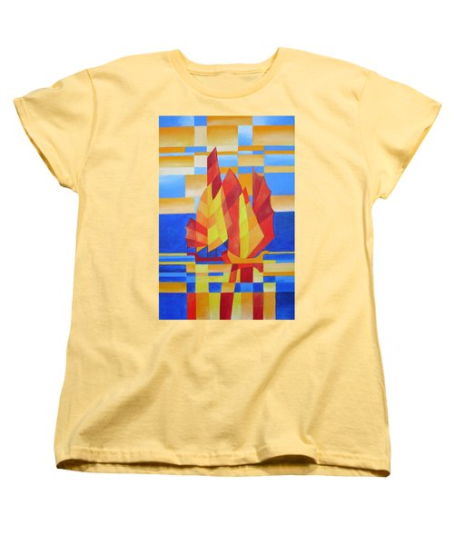 Women's T-Shirt (Standard Cut) featuring the painting Sailing On The Seven Seas So Blue by Tracey Harrington-Simpson