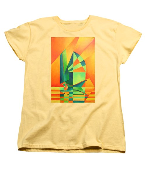 Women's T-Shirt (Standard Cut) featuring the painting Sails At Sunrise by Tracey Harrington-Simpson