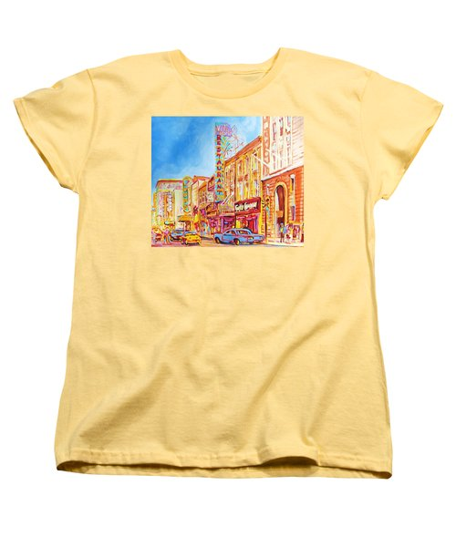 Women's T-Shirt (Standard Cut) featuring the painting Saint Catherine Street Montreal by Carole Spandau