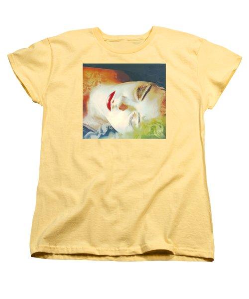 Women's T-Shirt (Standard Cut) featuring the digital art Sally Sleeps by Kim Prowse