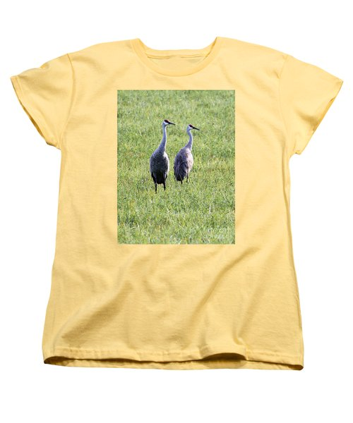 Women's T-Shirt (Standard Cut) featuring the photograph Sandhill Cranes In Wisconsin by Debbie Hart