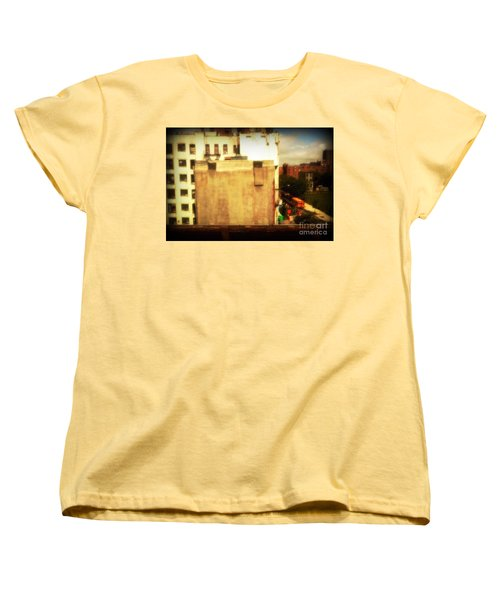Women's T-Shirt (Standard Cut) featuring the photograph School Bus With White Building by Miriam Danar