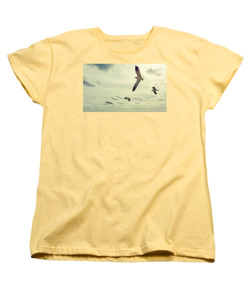 Women's T-Shirt (Standard Cut) featuring the photograph Seagulls In Flight by Bradley R Youngberg