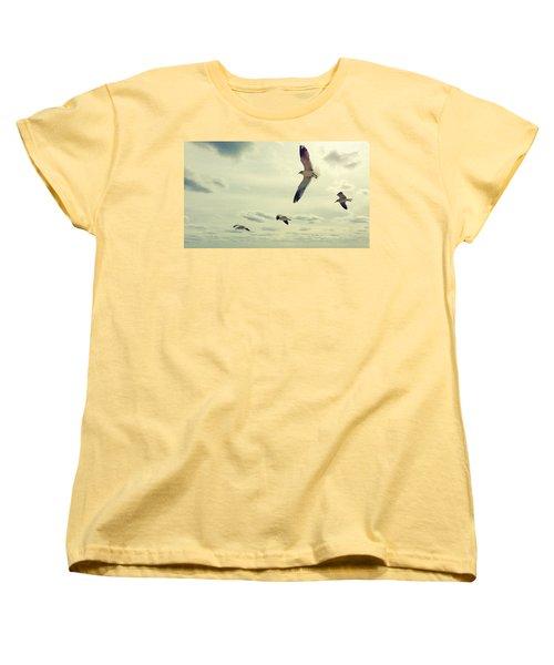 Seagulls In Flight Women's T-Shirt (Standard Cut) by Bradley R Youngberg