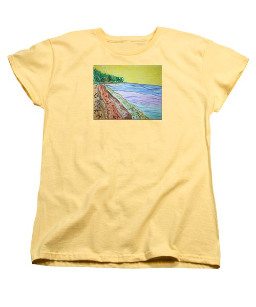Women's T-Shirt (Standard Cut) featuring the painting Seashore Bright Sky by Stormm Bradshaw