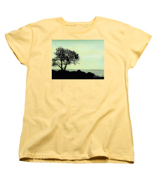 Women's T-Shirt (Standard Cut) featuring the drawing Seashore Silhouette by D Hackett