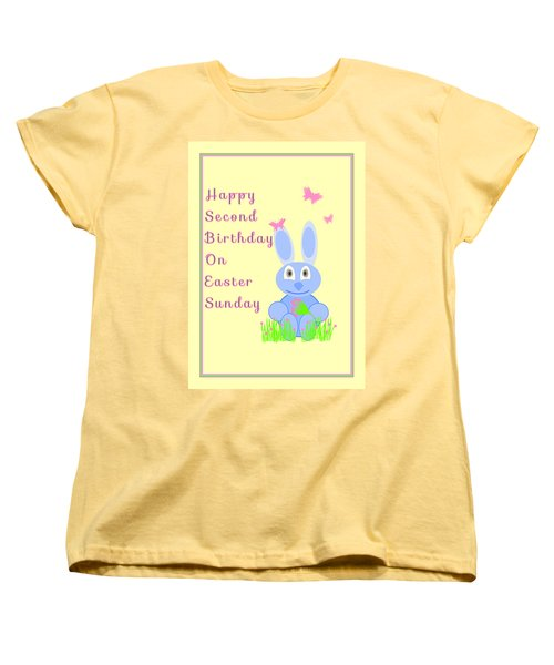 Women's T-Shirt (Standard Cut) featuring the mixed media Second Birthday On Easter by Rosalie Scanlon