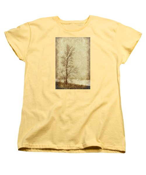 Sentinel Tree In Winter Women's T-Shirt (Standard Cut) by Nikolyn McDonald