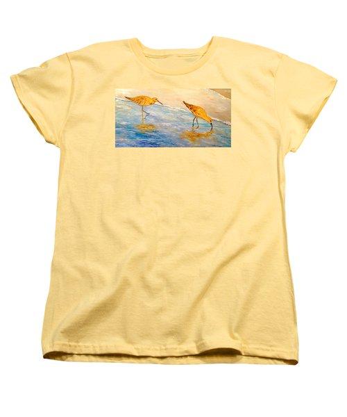 Women's T-Shirt (Standard Cut) featuring the painting Shore Patrol by Alan Lakin