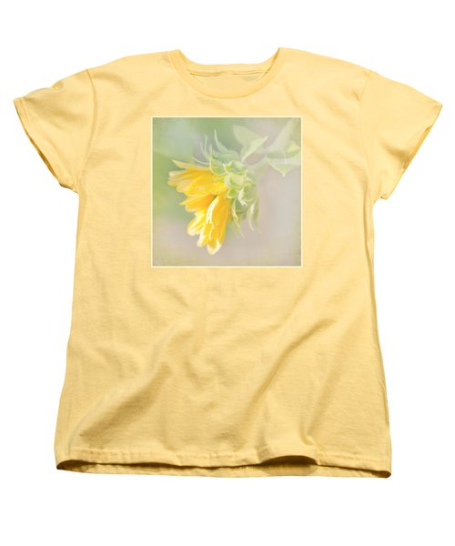 Women's T-Shirt (Standard Cut) featuring the photograph Soft Yellow Sunflower Just Starting To Bloom by Patti Deters