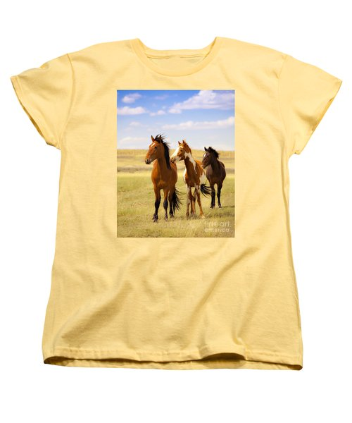 Southwest Wild Horses On Navajo Indian Reservation Women's T-Shirt (Standard Cut) by Jerry Cowart