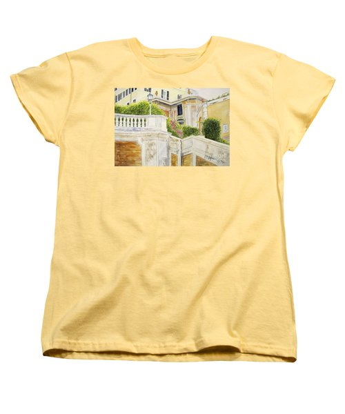 Women's T-Shirt (Standard Cut) featuring the painting Spanish Steps by Carol Flagg