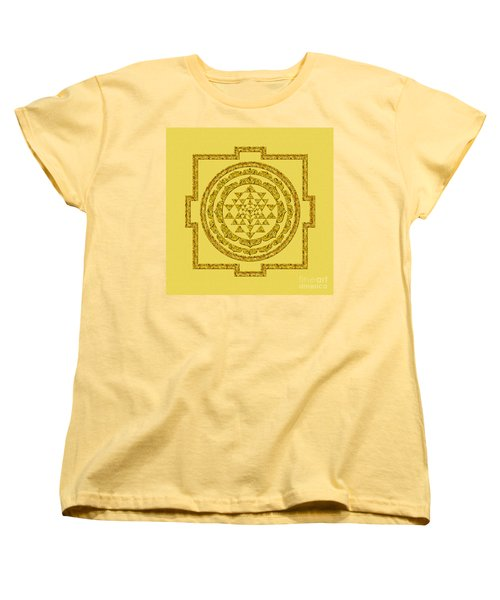 Sri Yantra In Gold Women's T-Shirt (Standard Cut) by Olga Hamilton