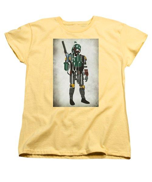 Star Wars Inspired Boba Fett Typography Artwork Women's T-Shirt (Standard Cut) by Ayse Deniz