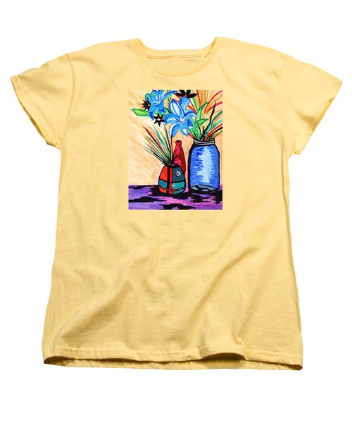 Women's T-Shirt (Standard Cut) featuring the painting Still Life Flowers by Connie Valasco