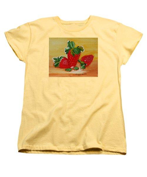 Strawberry Delight Women's T-Shirt (Standard Cut) by Johanna Bruwer