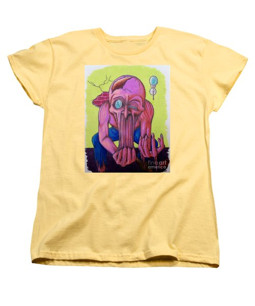 Women's T-Shirt (Standard Cut) featuring the drawing Stretching The Truth by Michael  TMAD Finney