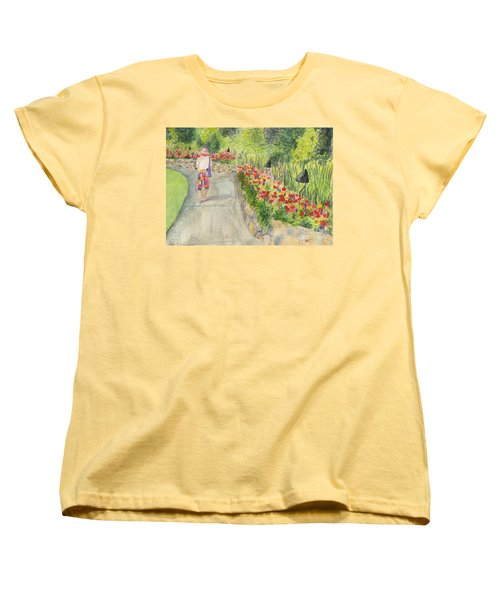 Women's T-Shirt (Standard Cut) featuring the painting Strolling Butchart Gardens by Vicki  Housel