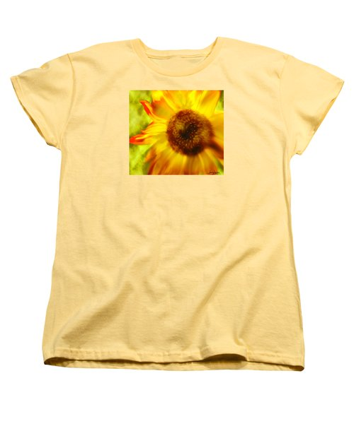 Women's T-Shirt (Standard Cut) featuring the digital art Sunflower-a-blaze by Janie Johnson