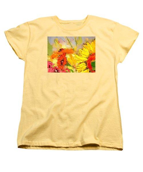 Women's T-Shirt (Standard Cut) featuring the painting Sunflower Detail by Ana Maria Edulescu
