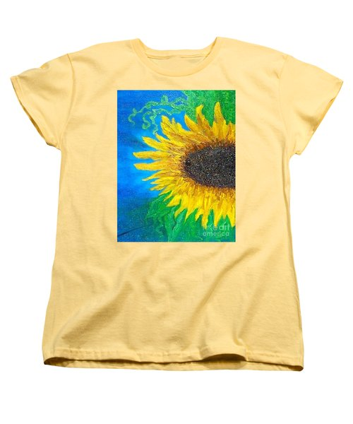 Women's T-Shirt (Standard Cut) featuring the painting Sunflower by Holly Martinson