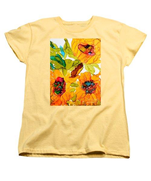 Sunflower Trio Women's T-Shirt (Standard Cut) by Vicki  Housel