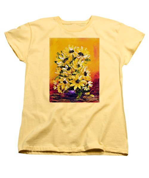 Women's T-Shirt (Standard Cut) featuring the painting Sunflowers  No.3 by Teresa Wegrzyn