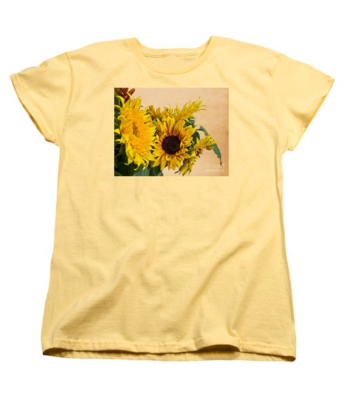 Sunflowers On Old Paper Background Art Prints Women's T-Shirt (Standard Cut) by Valerie Garner