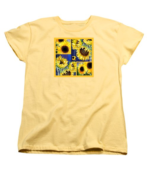 Women's T-Shirt (Standard Cut) featuring the painting Sunflowers Sunny Collage by Irina Sztukowski