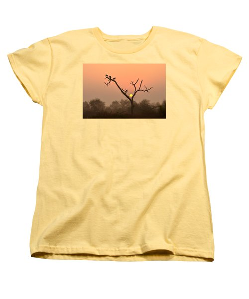 Sunrise At Bharatpur Women's T-Shirt (Standard Cut) by Fotosas Photography