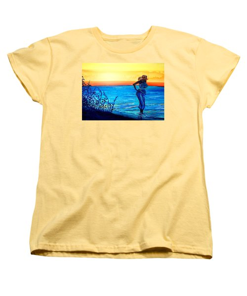 Women's T-Shirt (Standard Cut) featuring the painting Sunrise Blues by Ecinja Art Works